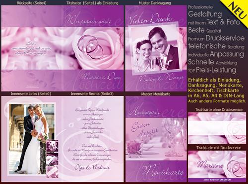 Hochzeitskarten In Den Farben Flieder Rosa Violett Und Lila