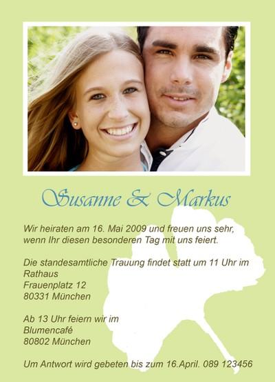 Einladungskarte Mit Foto Des Brautpaars