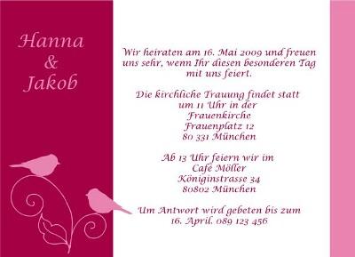 Zum Verschicken als Einladung an die Hochzeitsgäste: Eine ...